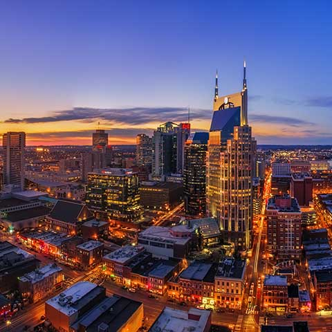 Skyline of Nashville at dusk.