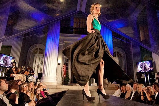 A CEA student walks the catwalk during a fashion show
