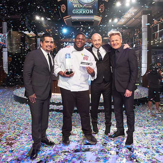 Gerron Hurt, second from left after winning Season 9 MasterChef competition.