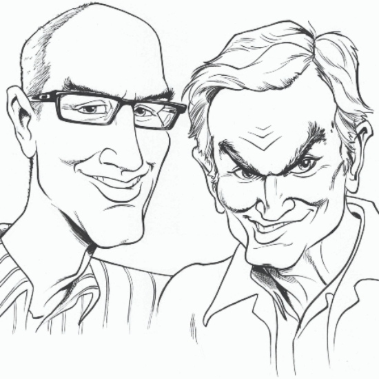 Caricature of Tom Bancroft and John Pomeroy