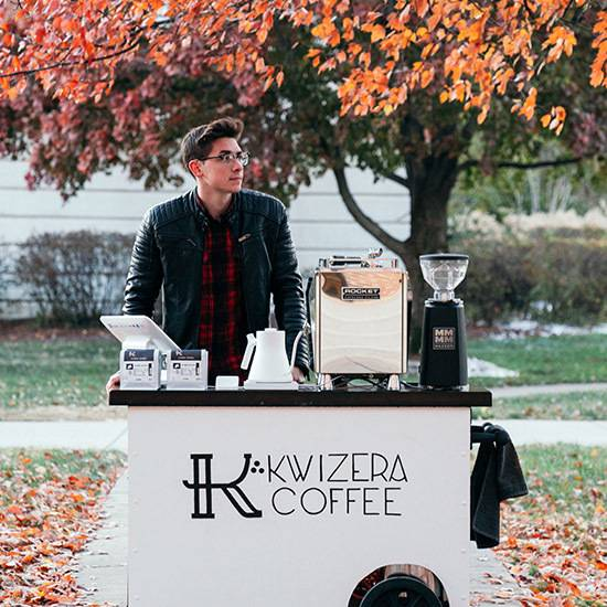 Aiden Miller by his coffee cart