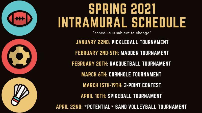 2021 intramural schedule