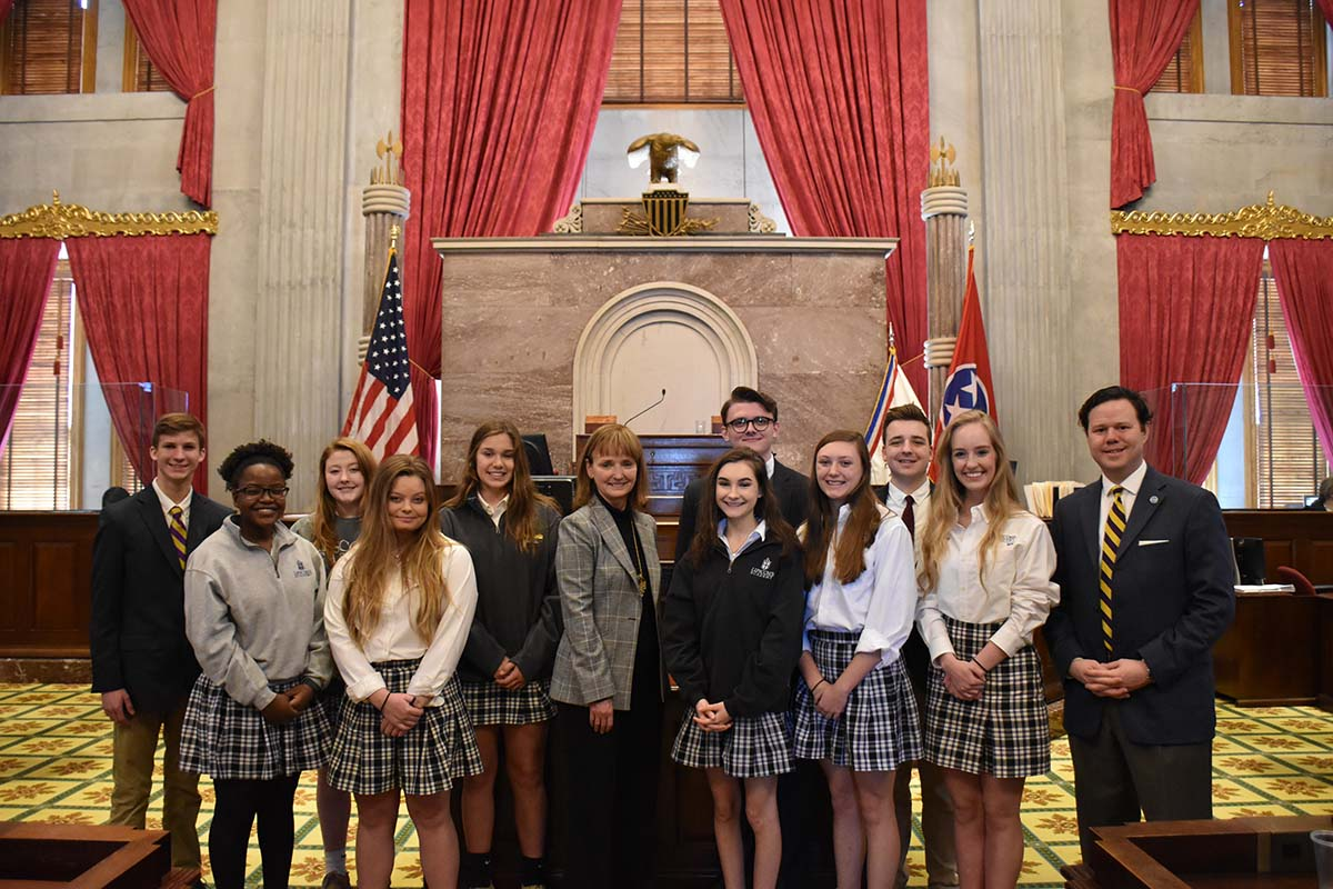 Students visiting the Tennessee Capitol.