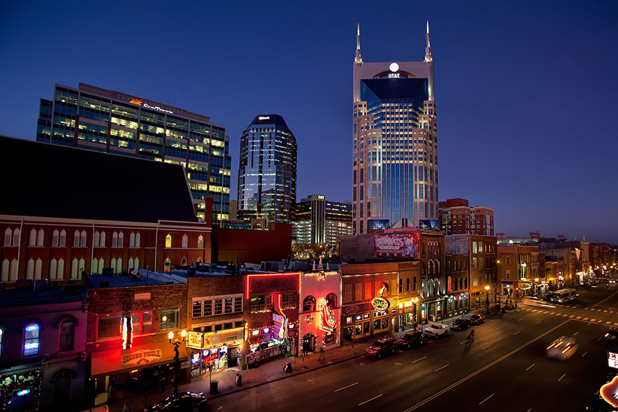 "A look at the ""Batman Building"" over Broadway in downtown Nashville."