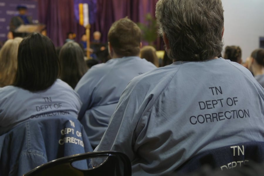 Backs of Inmates at the Tennessee Prison for Women Graduation in 2015