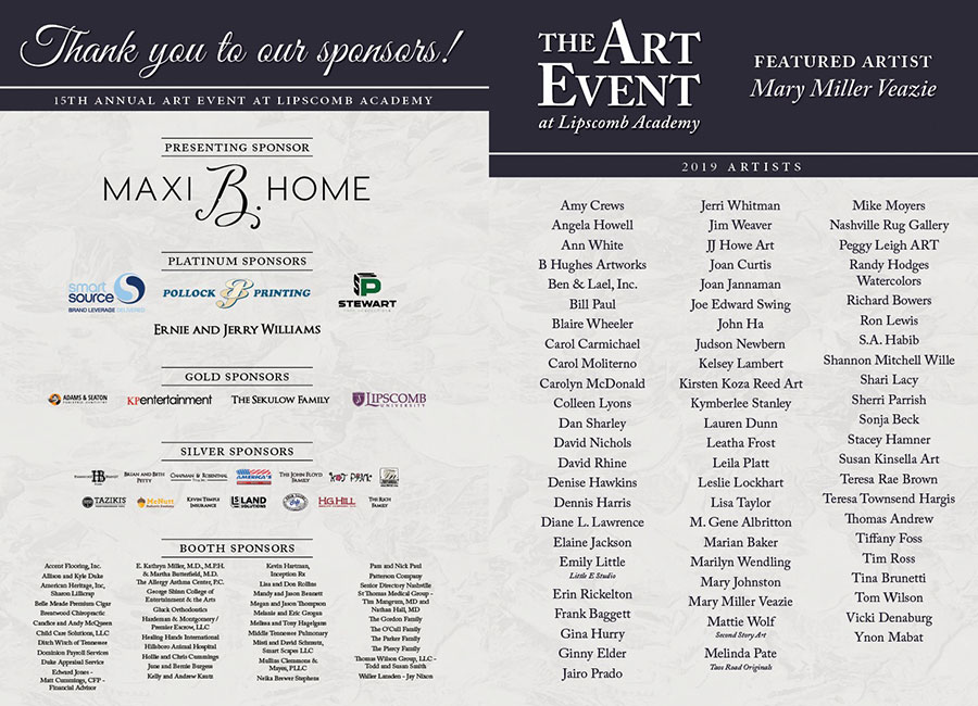 list of sponsors for 2019 Art Event