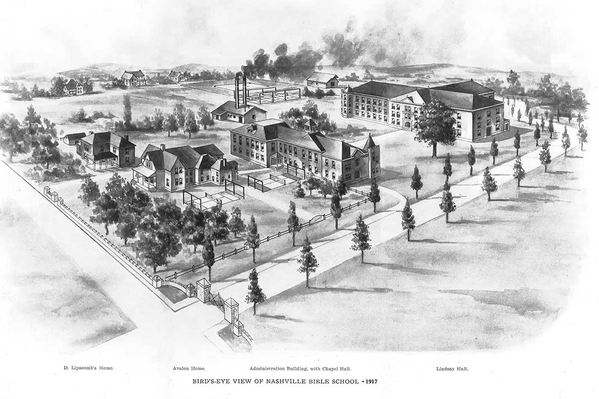 Lipscomb's campus in 1917, when it was known as Nashville Bible School.