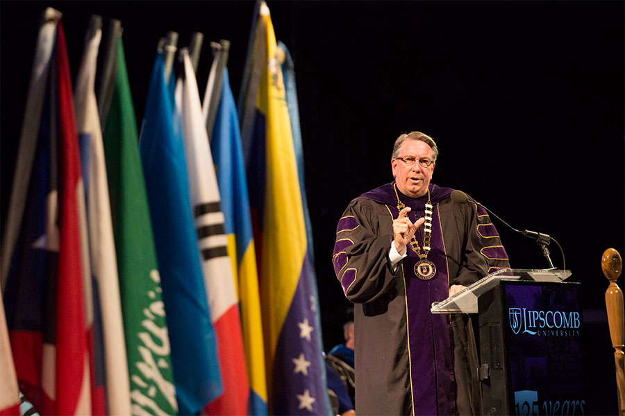 President Randy Lowry speaks to an audience during President's Convocation