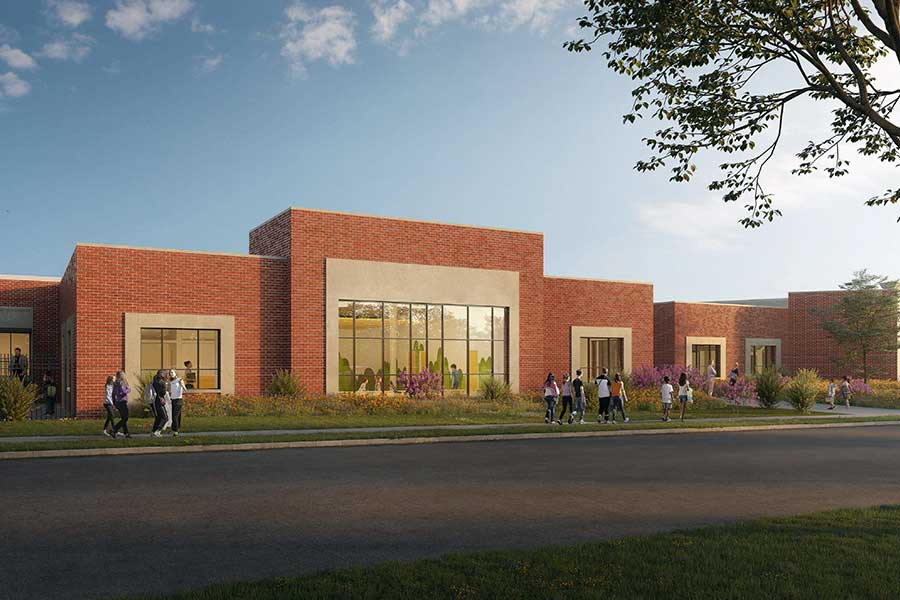 Lipscomb Academy Lower School expansion rendering at elevation from Harding Place