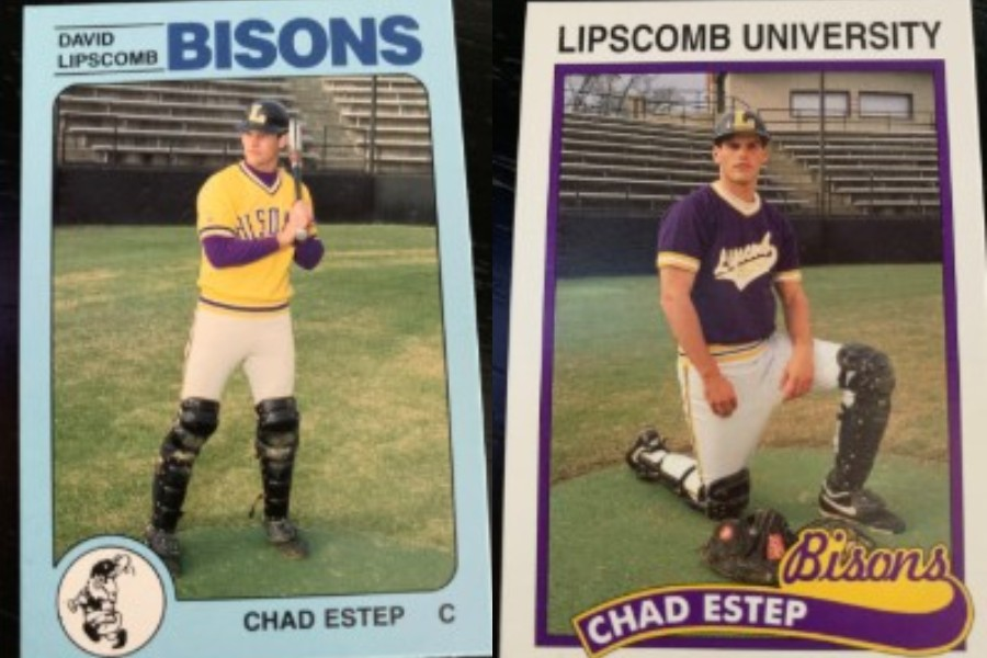 Two baseball cards with Chad Estep in baseball uniform.