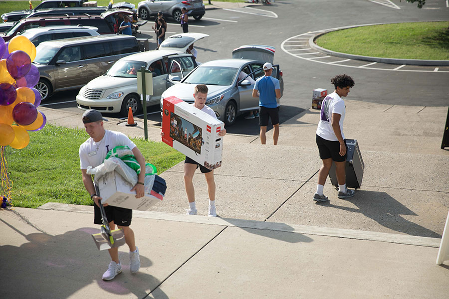Four students carry belongings on Move In Day