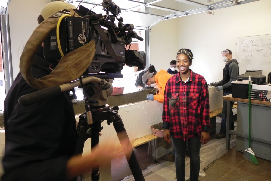 Michaela Kirk being interviewed when she was a student
