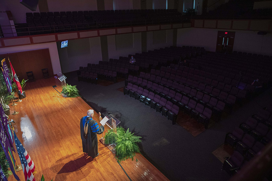 The stage of Collins seen from overhead during the filming on the commencement ceremony.
