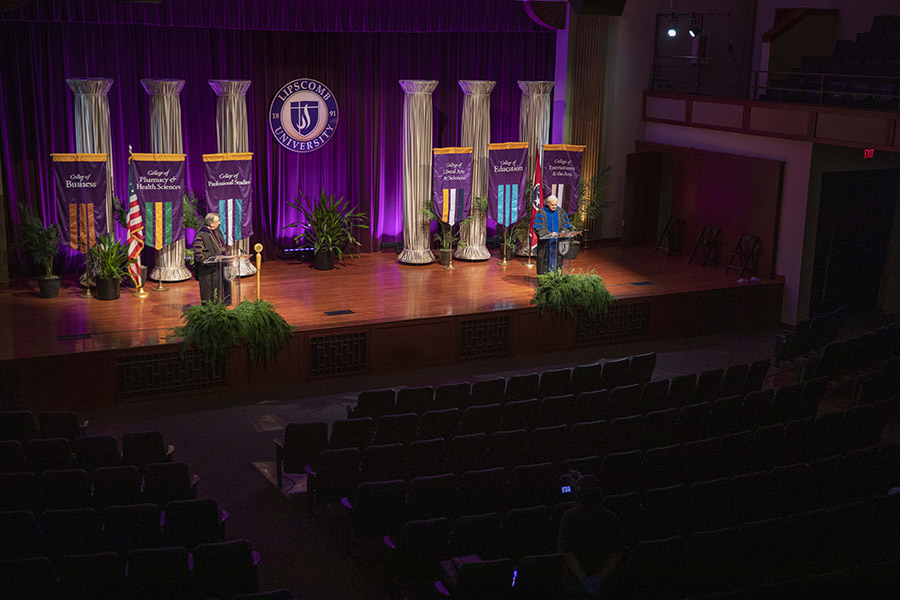 The stage of Collins during the filming on the commencement ceremony.