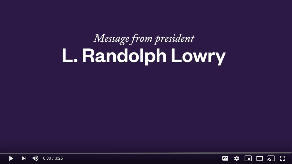 A Message from President Lowry to Alumni about COVID-19