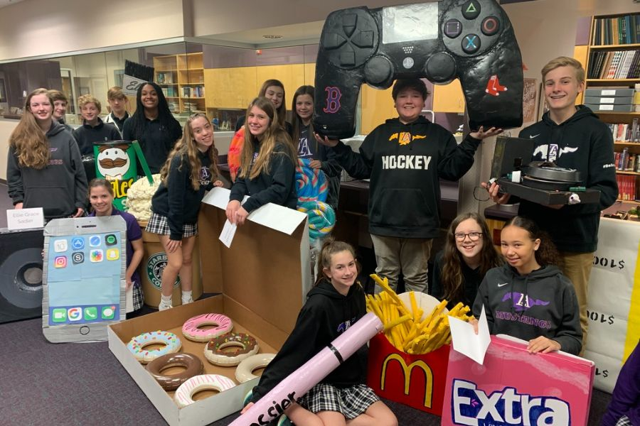 Students created larger-than-life replicas of favorite items.