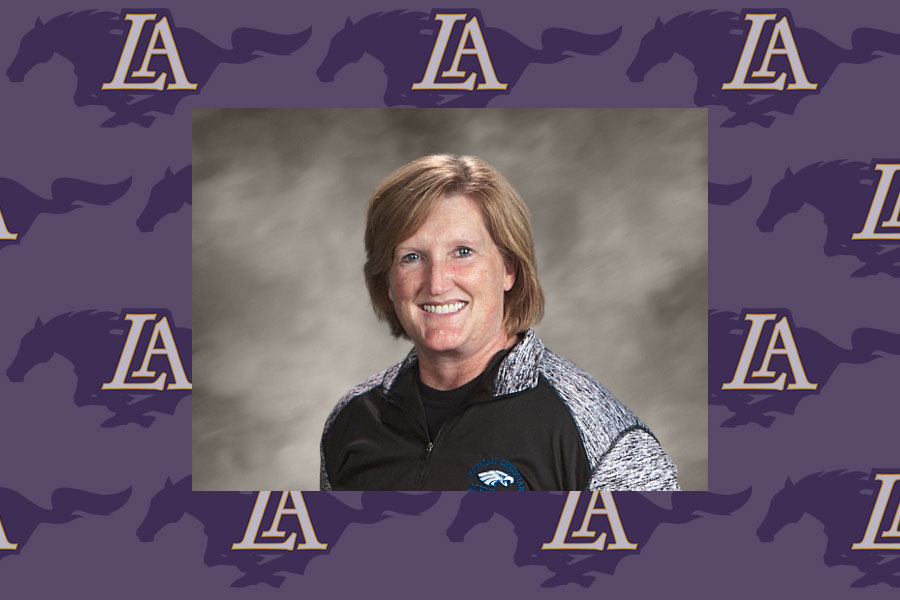 Image of Michelle York overlaid on repeating Lipscomb Academy athletics logo