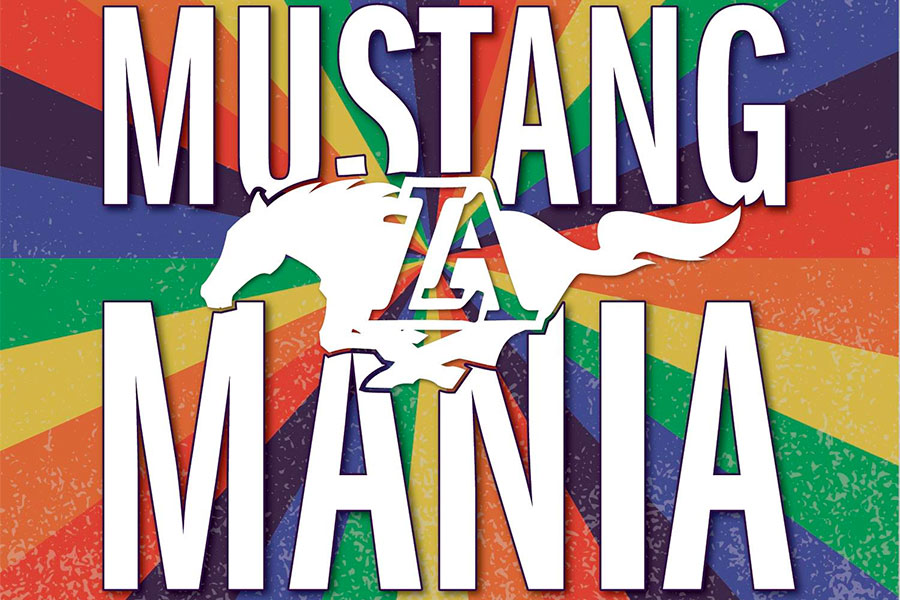 Graphic with the words Mustang Mania and running mustang superimposed.