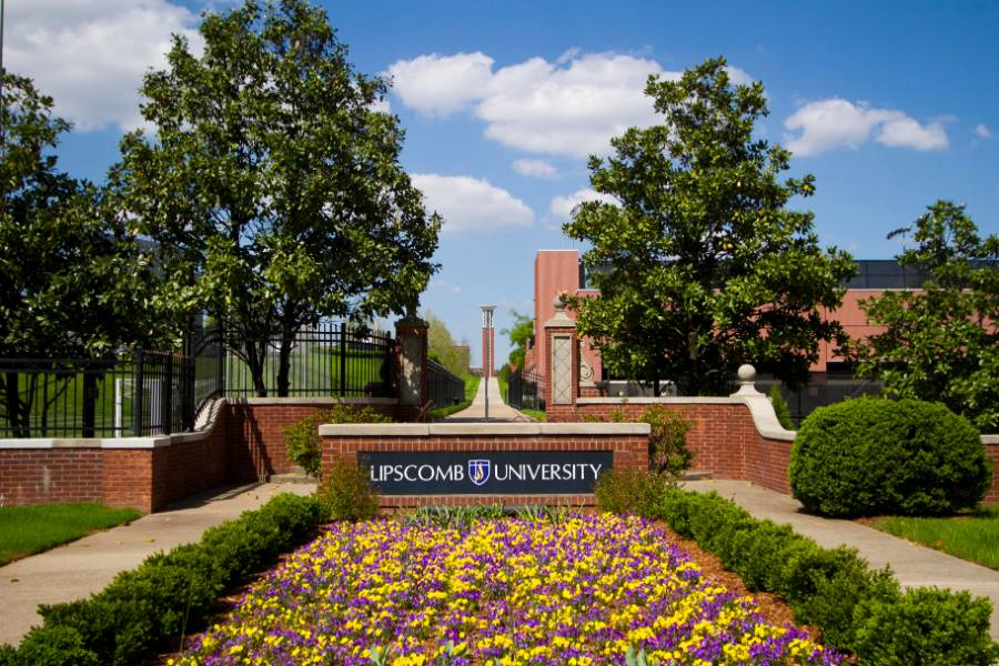 Entrance to Lipscomb University campus with Bell Tower in the background
