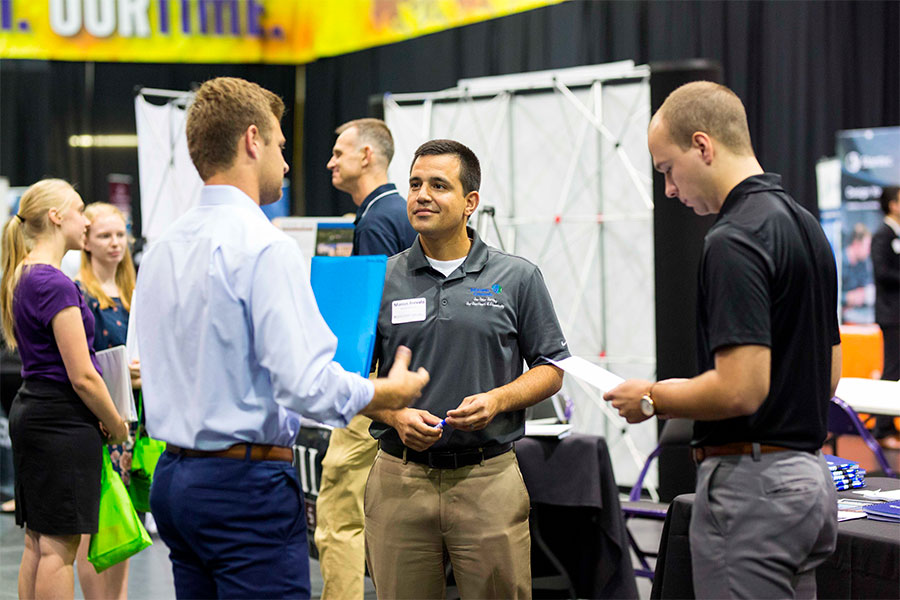 Students meeting with recruiters at an Engineering Career Fair.