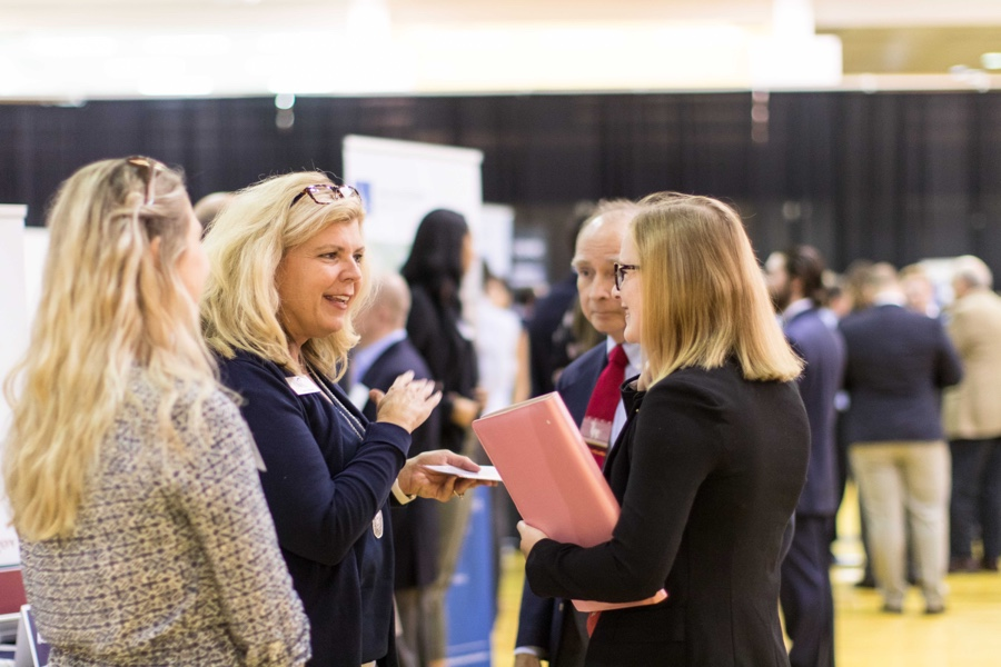 Students meeting representatives of local firms