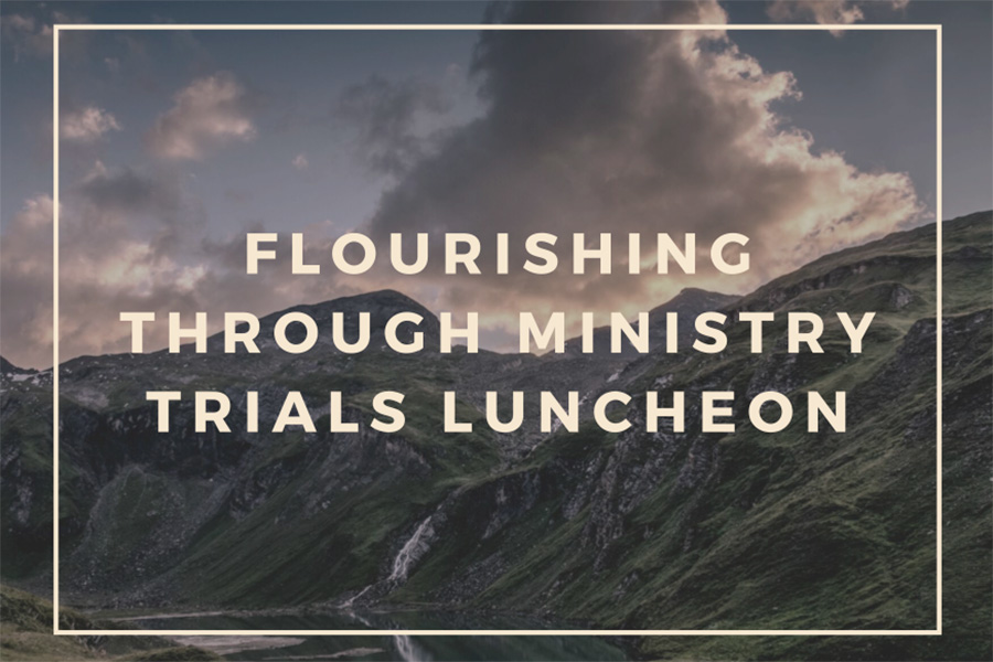 """Flourishing Through Ministry Trials Luncheon"" over text of sunset and landscape with clouds."