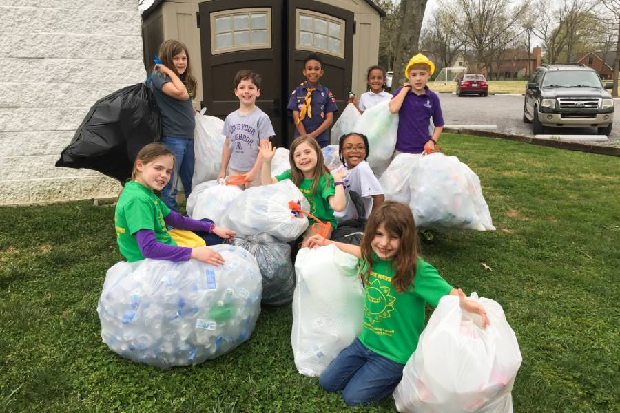 Third-grade students collected 6,000 bottles and 3,200 cans in 2018.