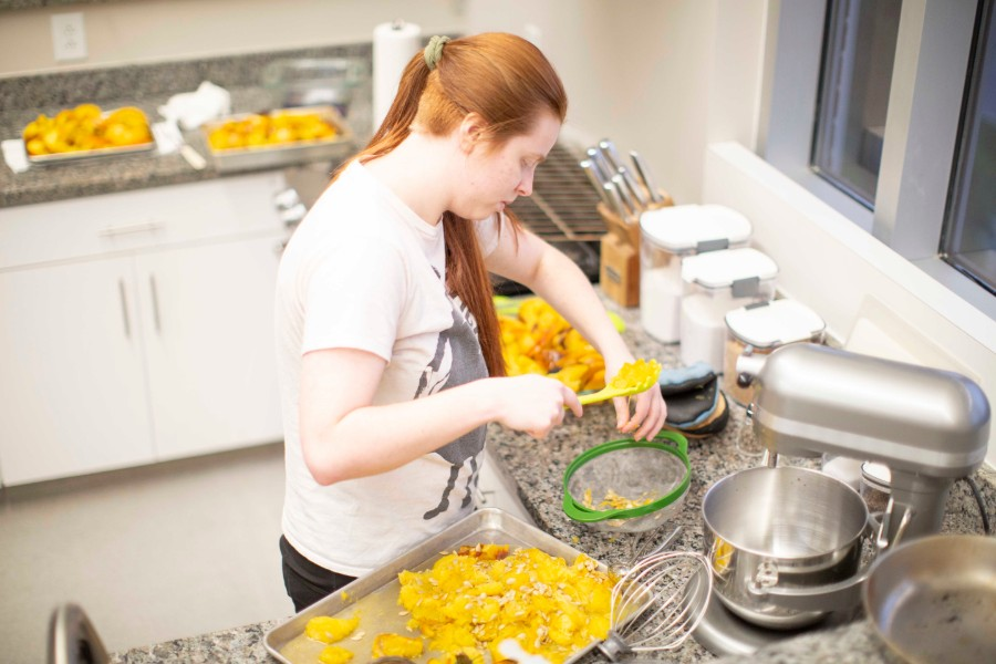 Student working with pumpkin puree