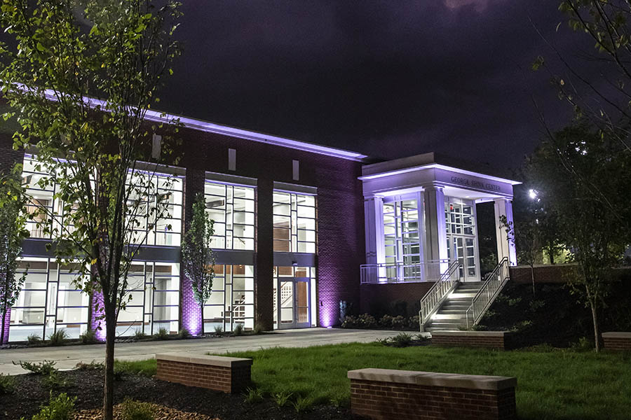 George Shinn Event Center at night