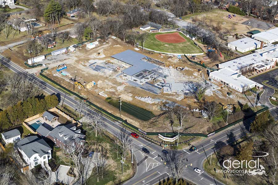 Aerial of the Lipscomb Academy construction site