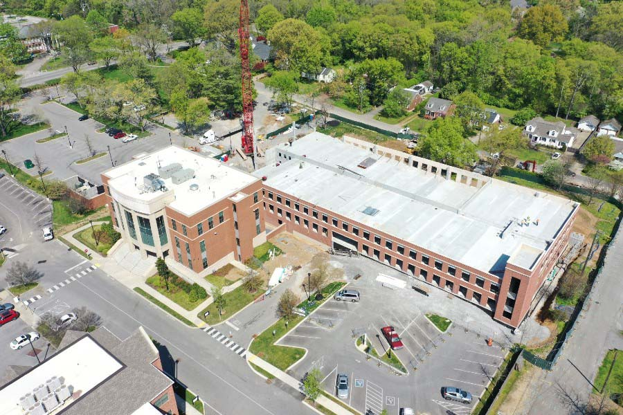 Aerial shot of north parking garage as of April 2020