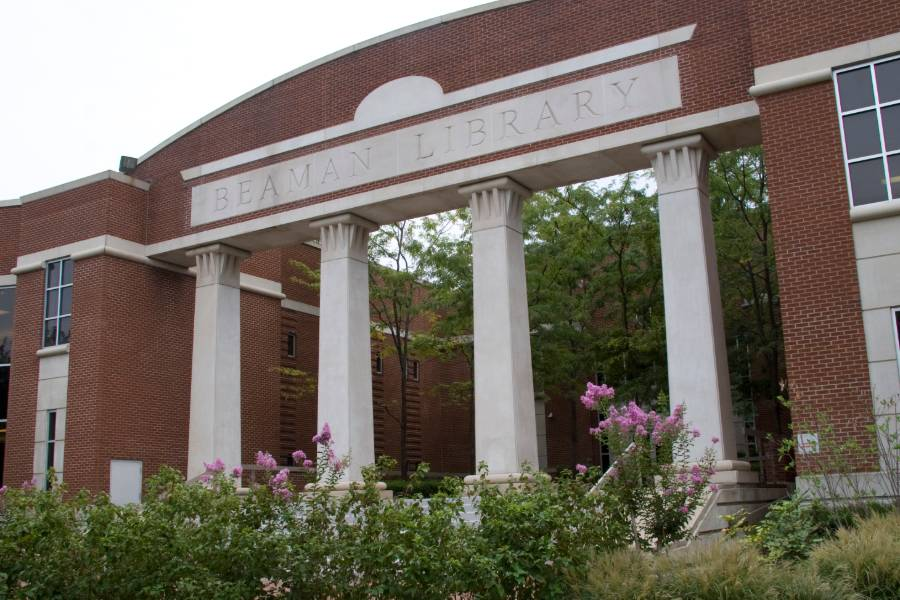 Photo of the front of Beaman Library
