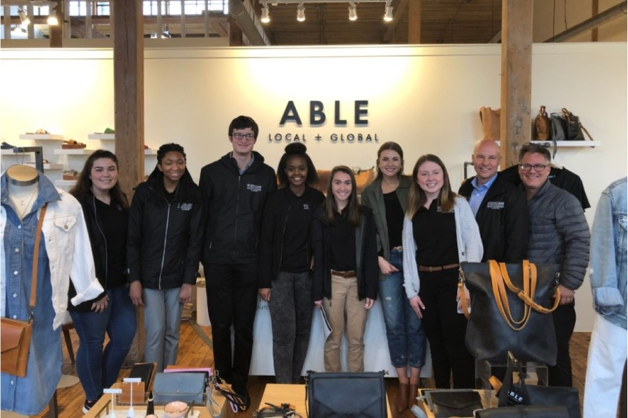 Lipscomb's Business As Mission Fellows on a field trip at a store called ABLE.