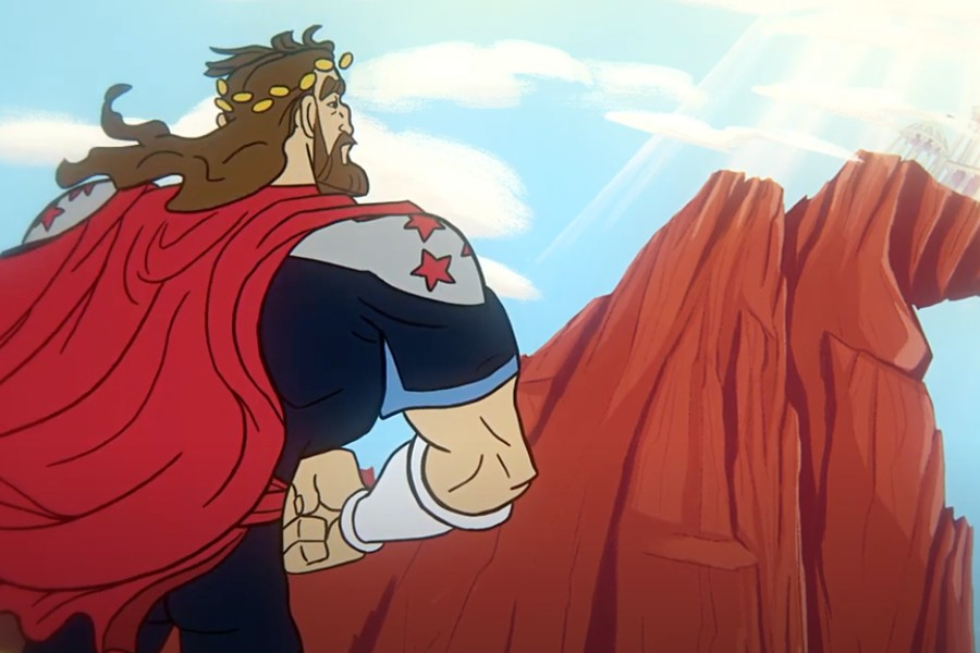 Illustration of Titan Man standing looking at a cliff.