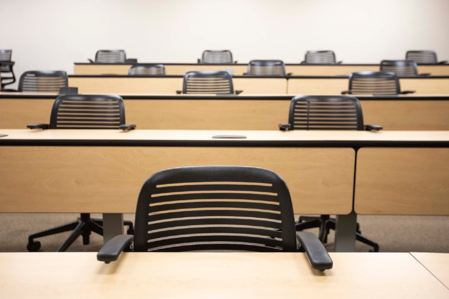 Classroom with chairs physically distanced