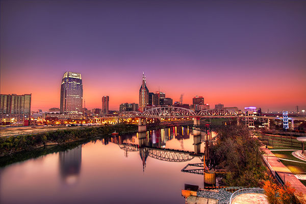 The skyline of Nashville, Tennessee
