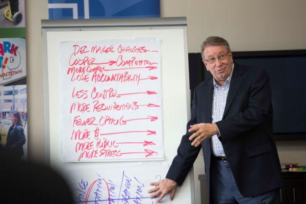 Lipscomb University President Randy Lowry teaches a class.