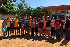 Group of softball students in Baja, Mexico