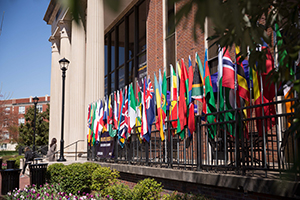 Flags of students outside Bennett Campus Center