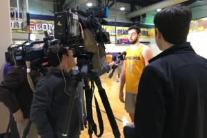 Bison basketball player Rob Marberry talking to reporters.