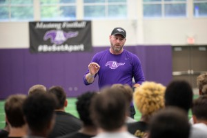 Trent Dilfer talking to football players