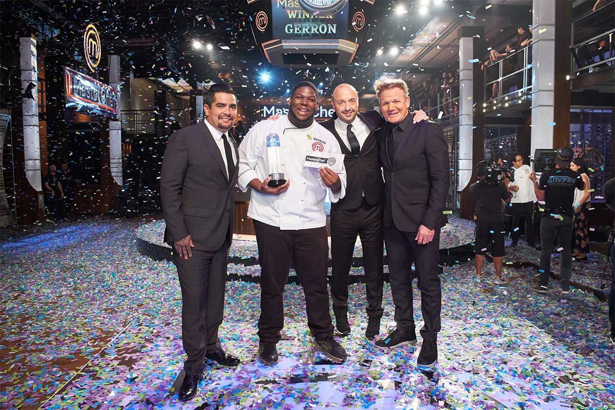 Gerron Hurt, second from left, stands with judges Aarón Sanchez, Joe Bastianich and Gordon Ramsay after winning Season 9 MasterChef competition.