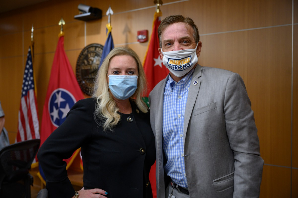 Lisa Piercey and Mark Ezell, side-by-side with facial masks