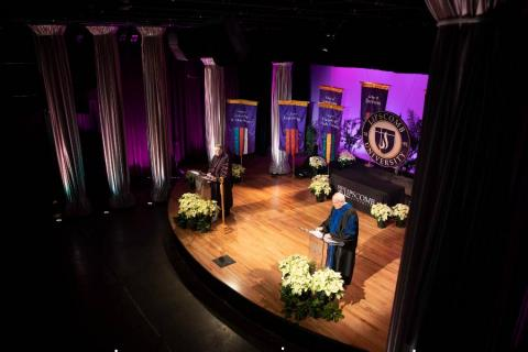 Shamblin Theatre stage for virtual commencement