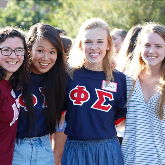 Greek Life is a quick way to get involved. These four students are all in social clubs.