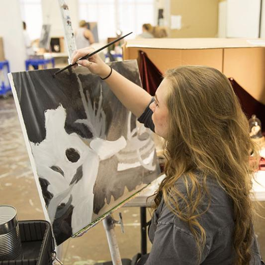A student works in the studio