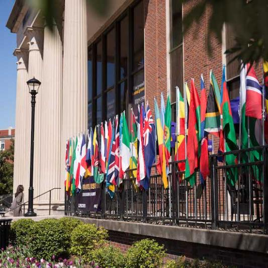 flags of countries around the world outside Bennett Campus Center