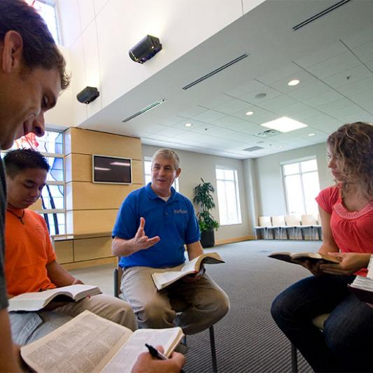 Bible & Ministry faculty teach students in Ezell Chapel