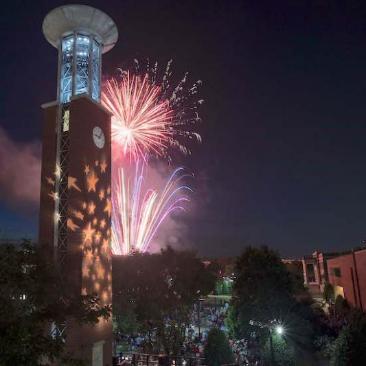 Belltower with fireworks