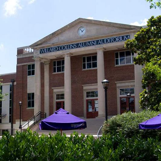 Front of Collins Alumni Auditorium